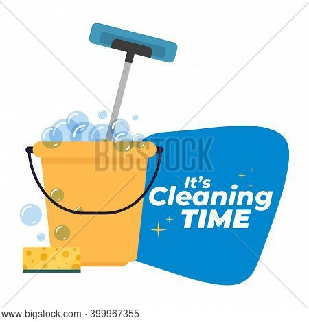 Bucket Yellow Cleaning Products Cleaning Time White Background- Vector