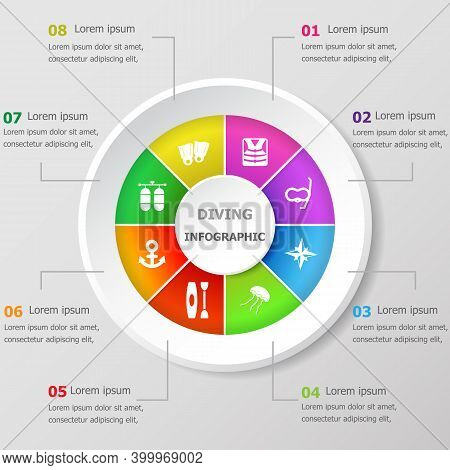 Infographic Design Template With Diving Icons, Stock Vector