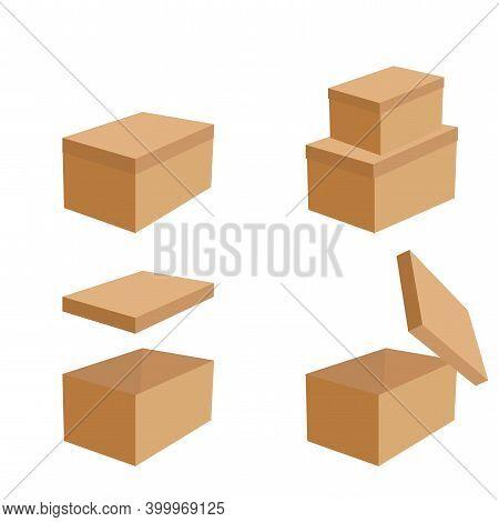 Open Closed Boxes. Box Set Mockup. Open Gift Box. Isometric Vector. Box Set Mockup. Stock Image.