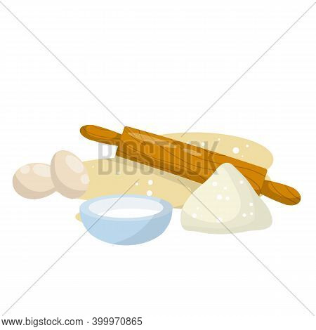 Rolling Pin And Dough. Wooden Appliance For Kitchen And Cooking. Cartoon Flat Illustration. Preparat