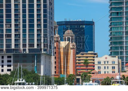June 22. 2020 : View of the tall buildings in Downtown St. Petersburg, Florida, USA