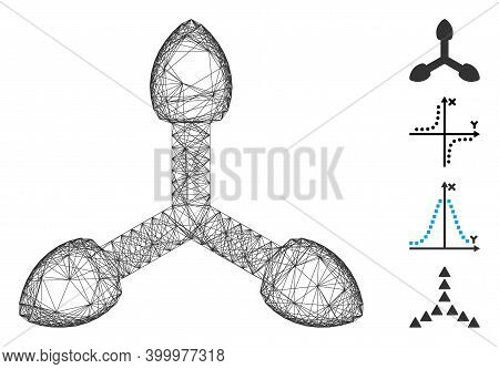 Vector Network 3d Axis Arrows. Geometric Wire Carcass Flat Network Made From 3d Axis Arrows Icon, De