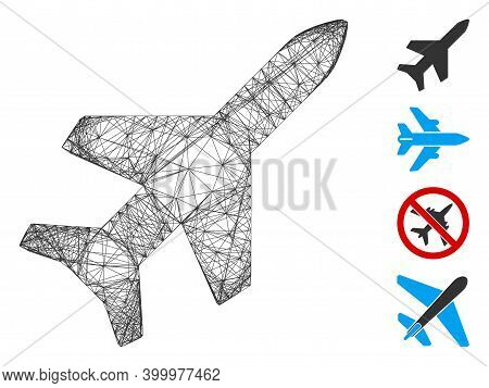 Vector Wire Frame Aeroplane. Geometric Wire Frame 2d Net Generated With Aeroplane Icon, Designed Fro