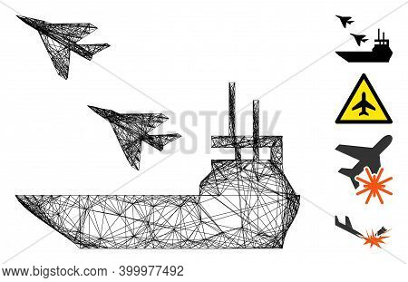 Vector Net Aircraft Carrier. Geometric Wire Carcass 2d Network Made From Aircraft Carrier Icon, Desi