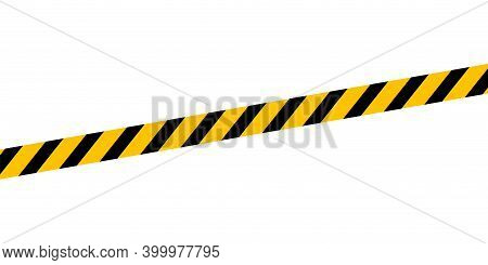 Caution Tape Line Isolated On White For Banner Background, Tape Yellow Black Stripe Pattern, Ribbon