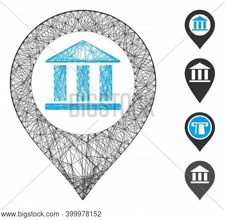 Vector Wire Frame Bank Building Pointer. Geometric Wire Frame Flat Network Generated With Bank Build