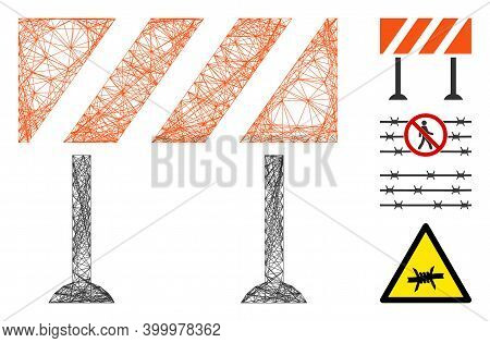 Vector Net Barrier. Geometric Wire Carcass Flat Net Made From Barrier Icon, Designed From Crossing L