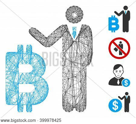 Vector Wire Frame Bitcoin Banker. Geometric Wire Carcass 2d Net Generated With Bitcoin Banker Icon,