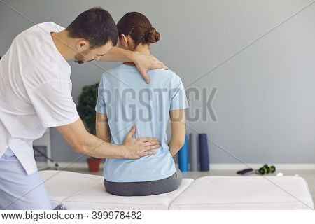 Professional Osteopath Fixing Woman Patients Back Muscles During Rehabilitation Theapy