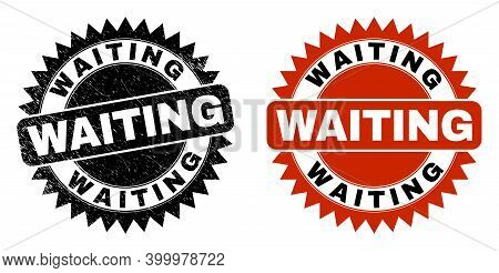 Black Rosette Waiting Seal Stamp. Flat Vector Textured Seal Stamp With Waiting Phrase Inside Sharp R