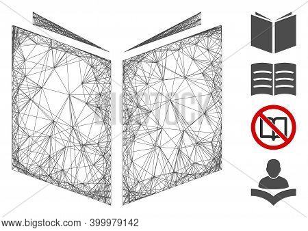 Vector Net Book. Geometric Wire Frame Flat Net Made From Book Icon, Designed From Crossing Lines. So