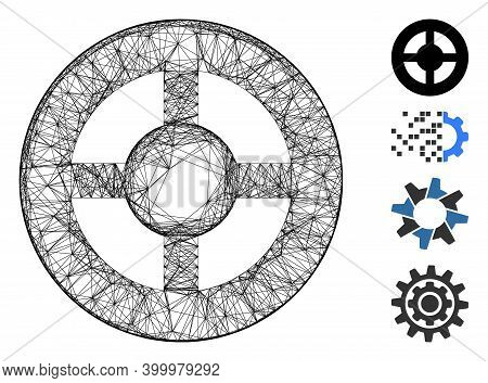 Vector Wire Frame Brass Blank Wheel. Geometric Wire Frame Flat Net Based On Brass Blank Wheel Icon,