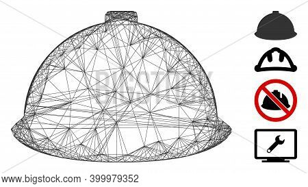 Vector Network Builder Helmet. Geometric Wire Frame Flat Network Generated With Builder Helmet Icon,