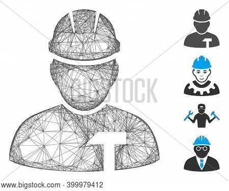 Vector Wire Frame Builder Person. Geometric Wire Frame Flat Net Made From Builder Person Icon, Desig
