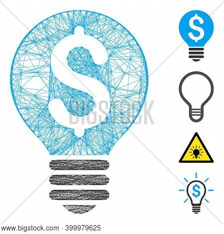 Vector Wire Frame Business Patent Bulb. Geometric Hatched Frame Flat Net Made From Business Patent B