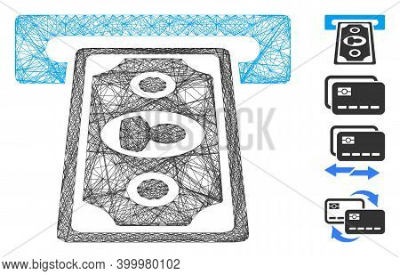 Vector Wire Frame Cashpoint Terminal. Geometric Wire Frame Flat Network Based On Cashpoint Terminal