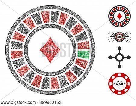 Vector Wire Frame Casino Roulette. Geometric Wire Frame Flat Network Made From Casino Roulette Icon,