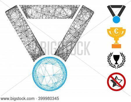 Vector Network Champion Award. Geometric Wire Frame Flat Network Made From Champion Award Icon, Desi