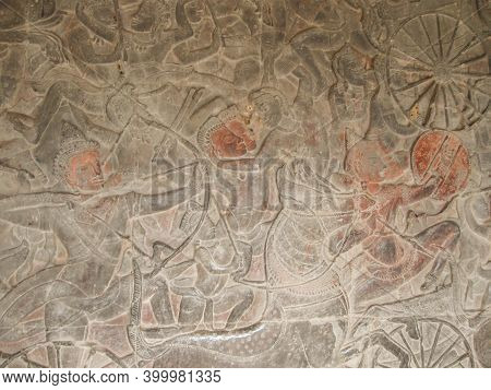 Angkor Wat, Cambodia - February 17, 2011: The Relief Of Khmer Culture In Angkor Wat, Cambodia