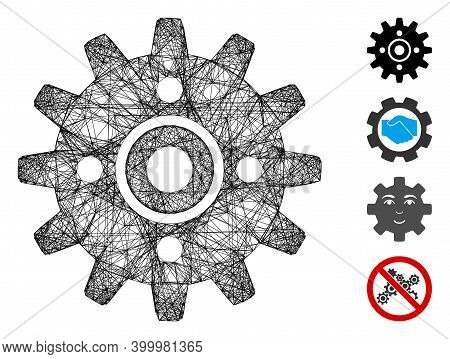 Vector Wire Frame Cogwheel. Geometric Wire Frame 2d Network Made From Cogwheel Icon, Designed From I