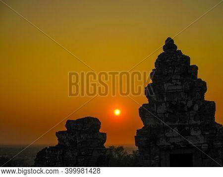 Angkor Wat, Cambodia - The Beautiful Orange Sunrise In Angkor Wat, Siem Reap Cambodia