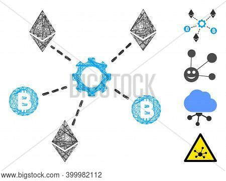 Vector Net Cryptocurrency Network Nodes. Geometric Wire Frame 2d Net Made From Cryptocurrency Networ