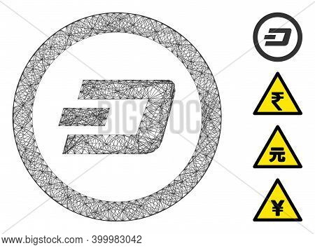 Vector Net Dash Rounded. Geometric Hatched Carcass Flat Net Generated With Dash Rounded Icon, Design