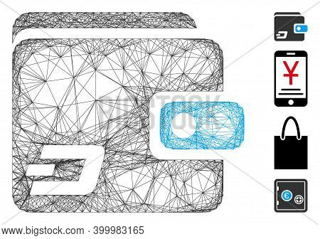 Vector Net Dash Wallet. Geometric Hatched Carcass Flat Network Generated With Dash Wallet Icon, Desi