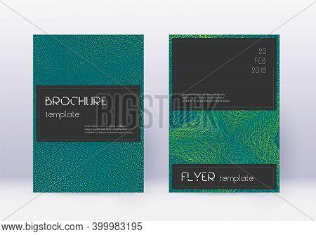 Black Cover Design Template Set. Green Abstract Lines On Dark Background. Alluring Cover Design. Mem