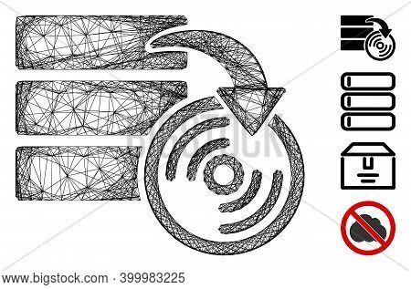 Vector Wire Frame Database Backup. Geometric Wire Frame 2d Net Generated With Database Backup Icon,