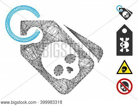 Vector Network Death Skull Tags. Geometric Hatched Carcass Flat Network Made From Death Skull Tags I