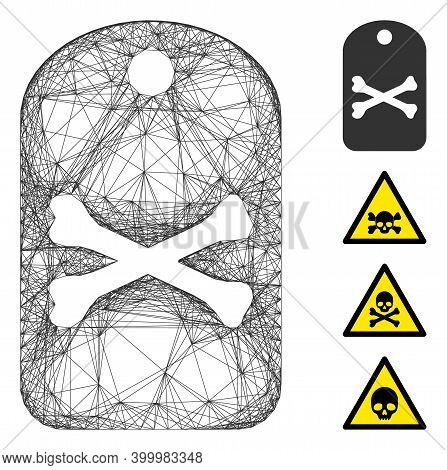 Vector Wire Frame Death Tag. Geometric Hatched Frame Flat Net Generated With Death Tag Icon, Designe