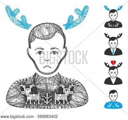 Vector Network Deers Pullover Horned Husband. Geometric Linear Carcass Flat Network Made From Deers