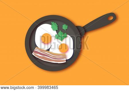 Bacon, Eggs And Cooking Pan With Handle. Omelet Papercut Style. Farm Products. Fast Food. Natural Pr