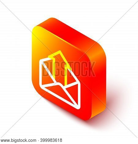 Isometric Line Outgoing Mail Icon Isolated On White Background. Envelope Symbol. Outgoing Message Si