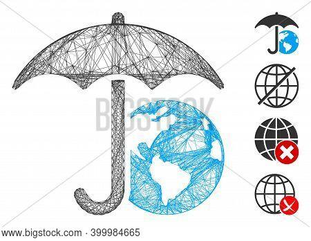Vector Net Earth Umbrella. Geometric Linear Carcass 2d Net Generated With Earth Umbrella Icon, Desig