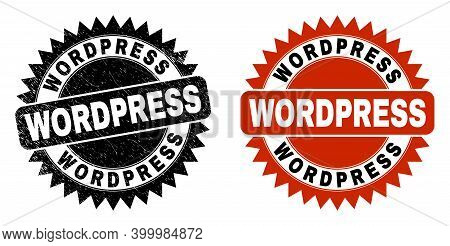 Black Rosette Wordpress Stamp. Flat Vector Distress Seal Stamp With Wordpress Title Inside Sharp Sta