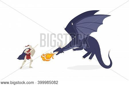 Brave Knight Fighting With Dragon Vector Flat Illustration. Medieval Warrior With Sword And Shield S