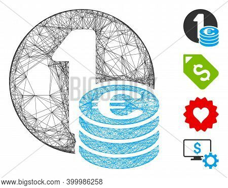 Vector Wire Frame Euro Coin Column. Geometric Wire Frame 2d Network Generated With Euro Coin Column
