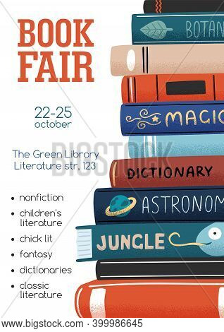 Promo Poster For Book Fair With Stack Of Different Academic And Entertainment Literature Vector Flat