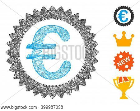 Vector Network Euro Reward Stamp. Geometric Hatched Carcass 2d Network Generated With Euro Reward St