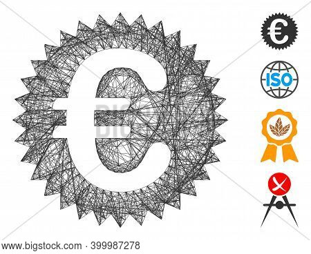 Vector Wire Frame Euro Warranty Stamp. Geometric Wire Frame Flat Net Made From Euro Warranty Stamp I