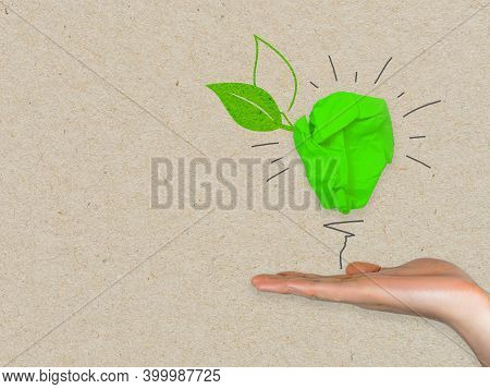 Green Paper Light Bulb Metaphor For Recycling And Green Renewable Energy Green Climate Concept On Br