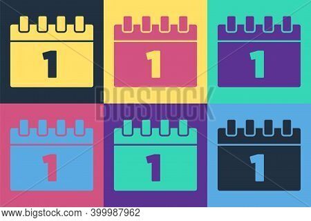 Pop Art Calendar With First September Date Icon Isolated On Color Background. September 1. Date And