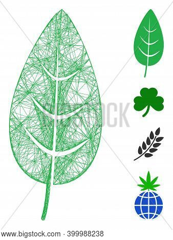 Vector Wire Frame Flora Leaf. Geometric Wire Frame 2d Network Based On Flora Leaf Icon, Designed Fro