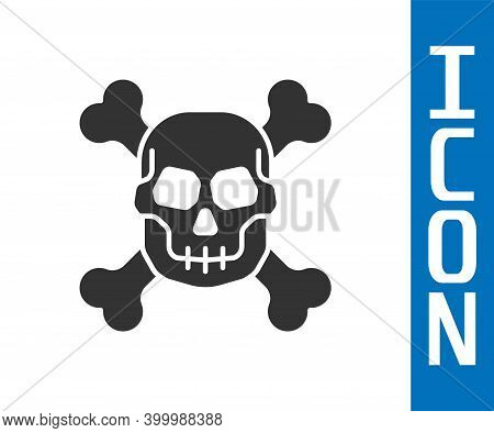Grey Skull On Crossbones Icon Isolated On White Background. Happy Halloween Party. Vector