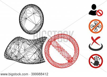 Vector Wire Frame Forbidden. Geometric Wire Frame Flat Net Based On Forbidden Icon, Designed From In