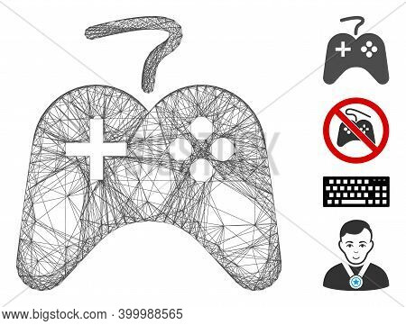 Vector Wire Frame Games Console. Geometric Wire Frame 2d Network Based On Games Console Icon, Design