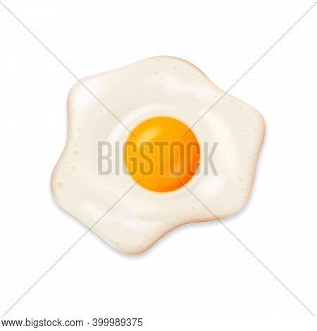 Fried Egg Isolated On White Background. Vector Illustration.