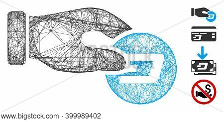 Vector Wire Frame Hand Pay Dash. Geometric Wire Frame 2d Net Made From Hand Pay Dash Icon, Designed